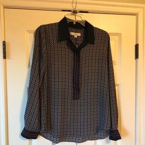 LOFT blouse 1/2 button up w/ collar fun print